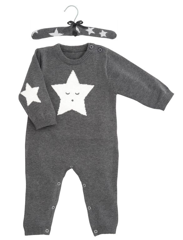 Baby Cable Knit Coverall By Elegant Baby, Grey Star