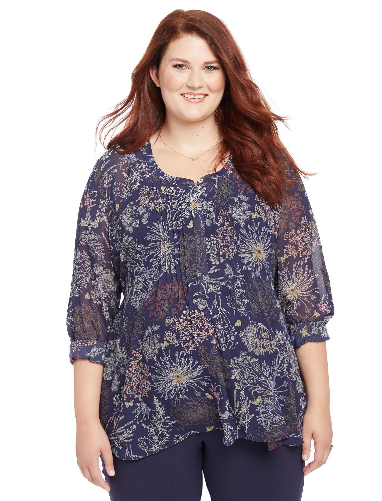 Plus Size Floral Print Pleated Maternity Blouse
