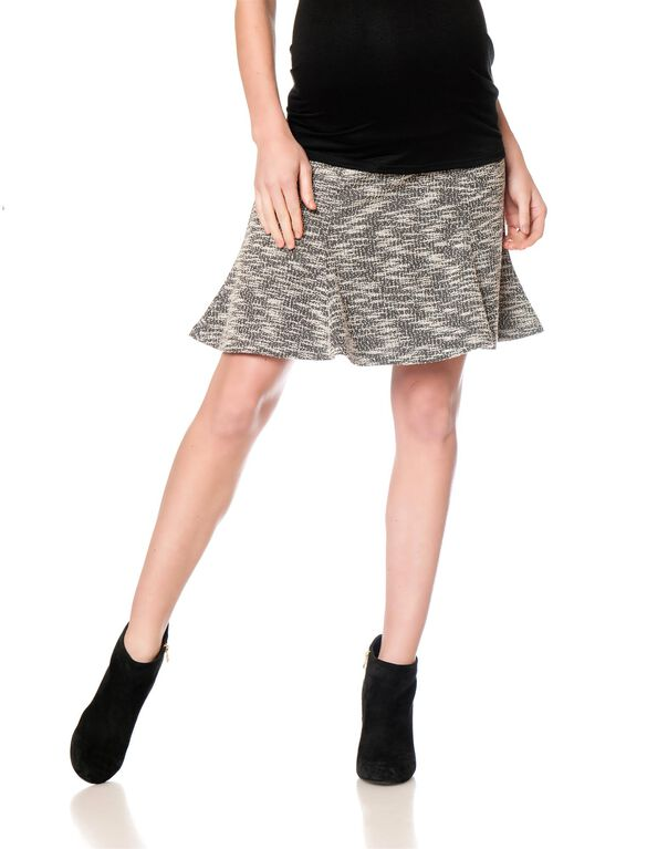 Secret Fit Belly Fit And Flare Maternity Skirt, Black/Natural Print