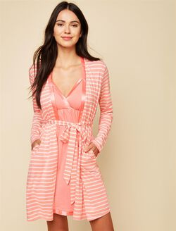 Satin Trim Maternity Nightgown And Robe Set, Shell Pink/White