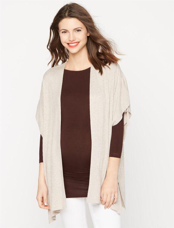 Splendid Cotton Cashmere maternity Sweater, Heather Wheat