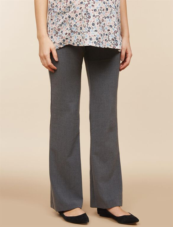 Petite Secret Fit Belly Bi-stretch Suiting Flare Leg Maternity Pants, Grey