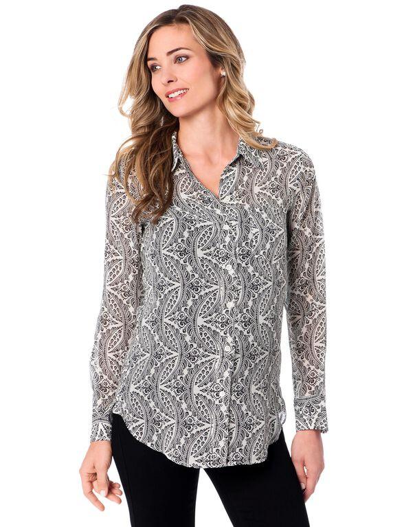 Maternity Shirt, Ivory/Black