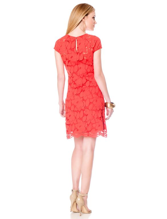 Keyhole Detail Maternity Dress, Red