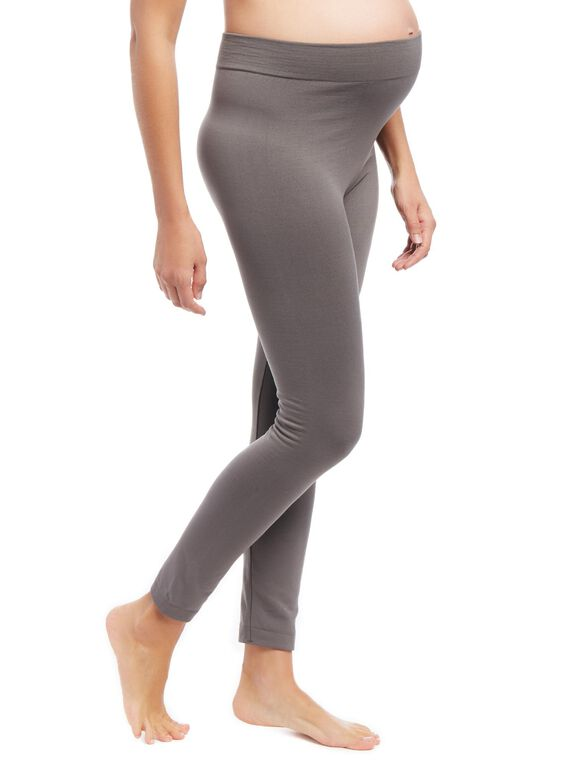 Pull On Fleece Maternity Leggings, Grey