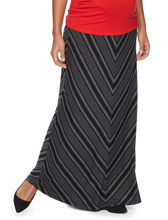 Secret Fit Belly Striped Maternity Maxi Skirt, Black/Grey