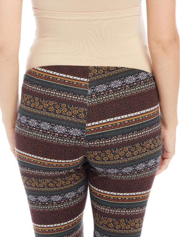 Secret Fit Belly Maternity Leggings- Line Print, Horizontal Floral