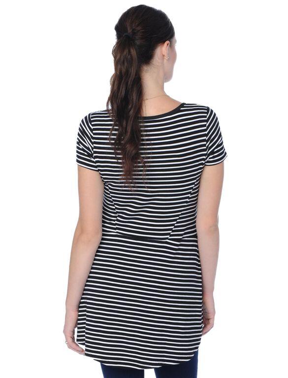 Peplum Maternity Top, Black White Stripe