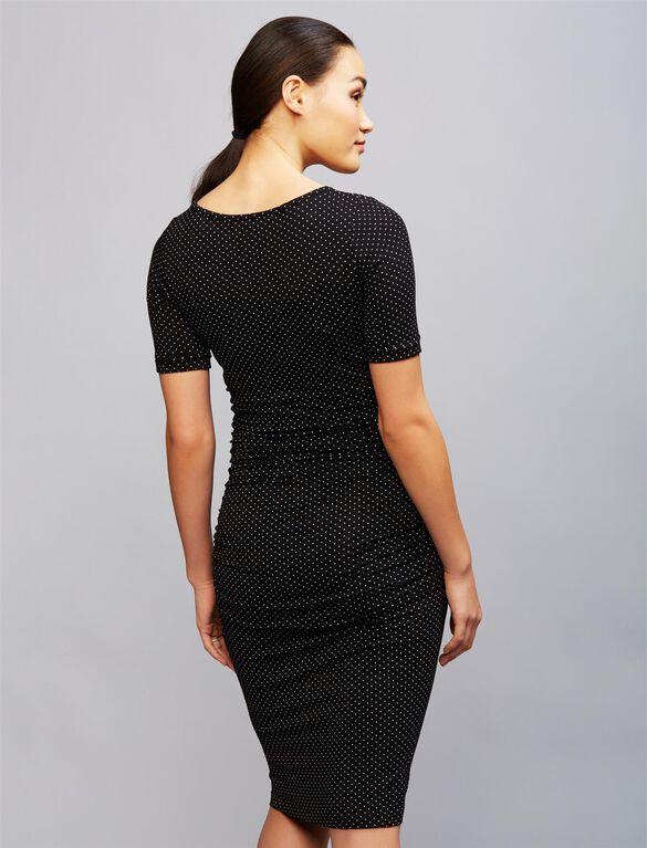 Isabella Oliver Ruched Maternity Shirt Dress- Dot Print, Dot Print