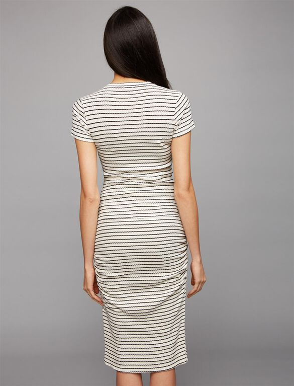 Monrow Ruched Maternity Dress, Stripe