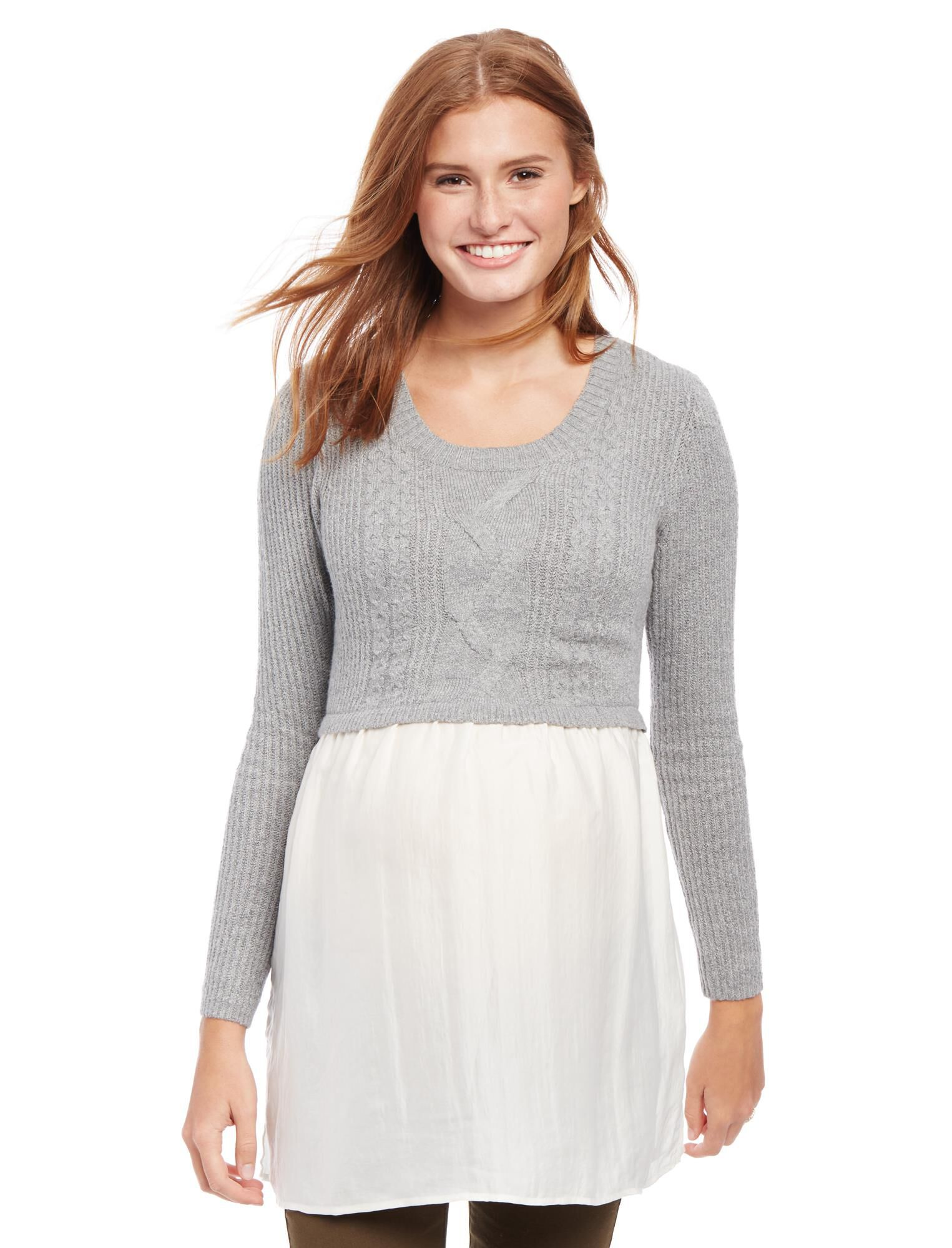 Cable Knit Maternity Sweater Shirt