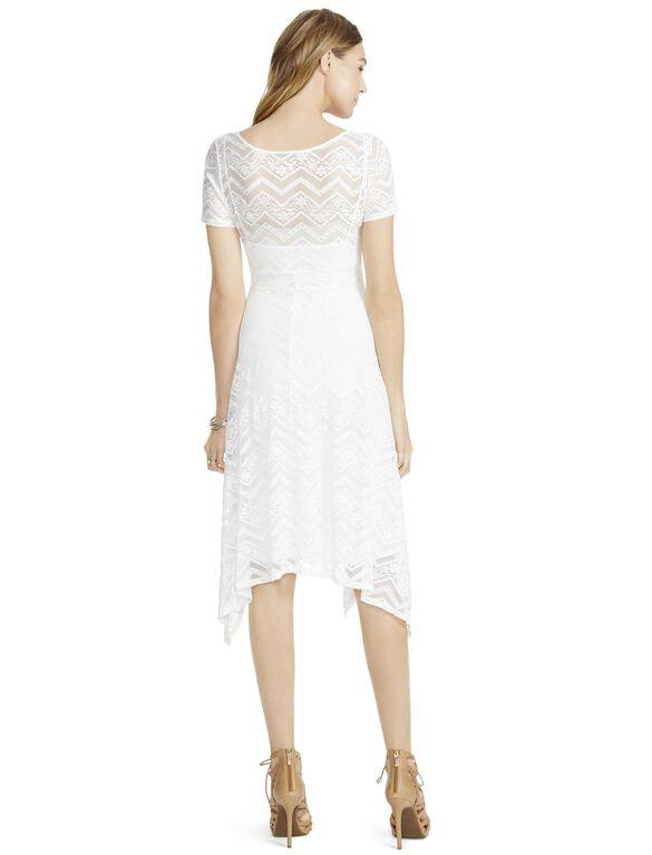 Jessica Simpson Lace Hanky Hem Maternity Dress- White, White