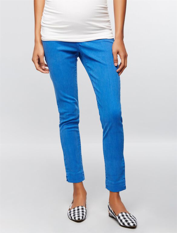 Luxe Essentials Denim Secret Fit Belly Twill Skinny Ankle Maternity Pants, Blue