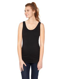 Side Ruched Scoop Neck Maternity Tank Top- Solid, Black