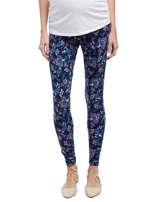 Secret Fit Belly Maternity Leggings- Ditsy Floral, Navy Floral