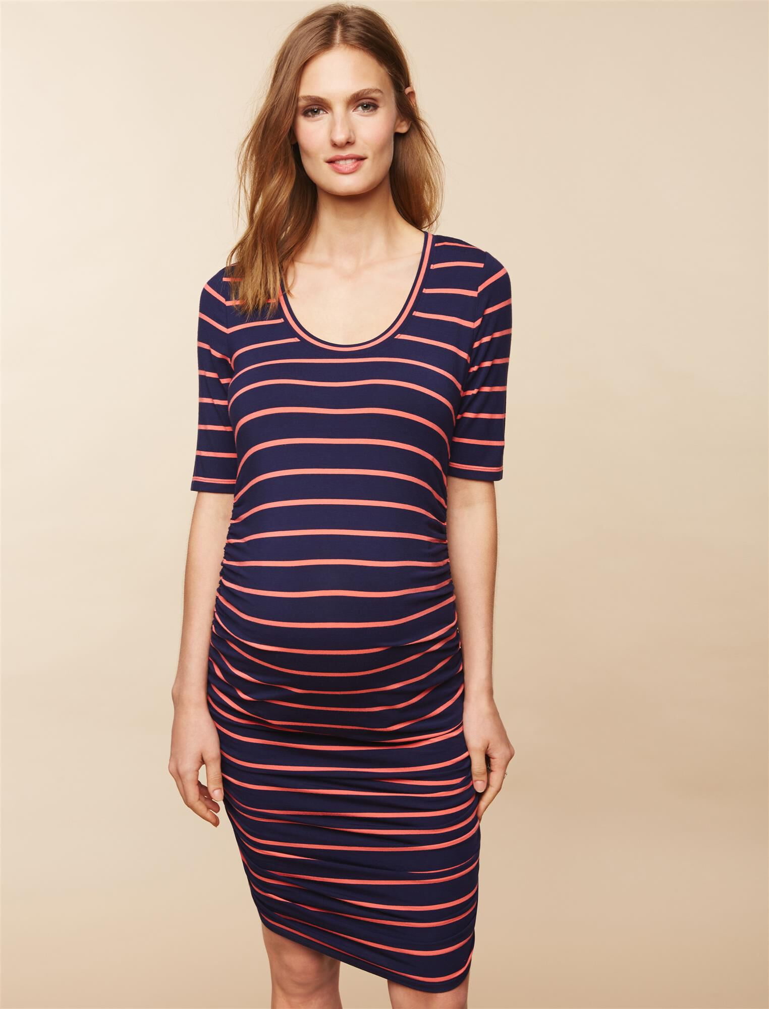 Side Ruched Maternity Dress- Stripe