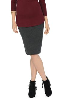 Isabella Oliver Pull On Maternity Pencil Skirt, Dark Grey Melange