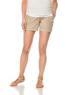 Secret Fit Belly Poplin Cargo Maternity Shorts, Khaki