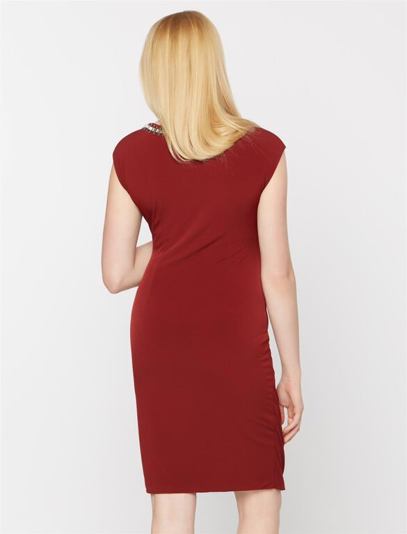 Embellished Maternity Dress, Burgundy