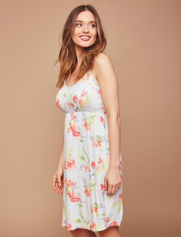 Bump in the Night Nursing Nightgown- Tropical Floral, Tropical Floral