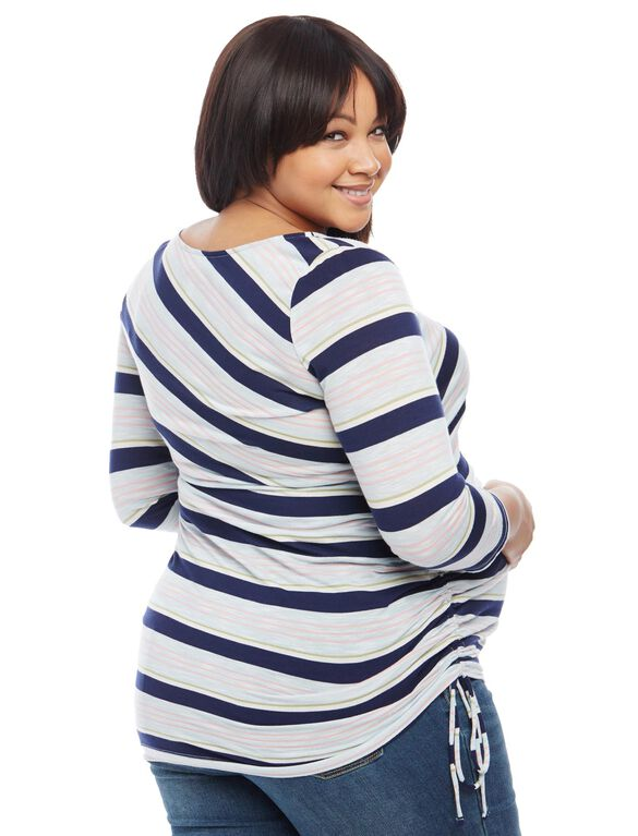 Plus Size Jessica Simpson Side Tie Maternity Tee- Stripe, Multi Stripe