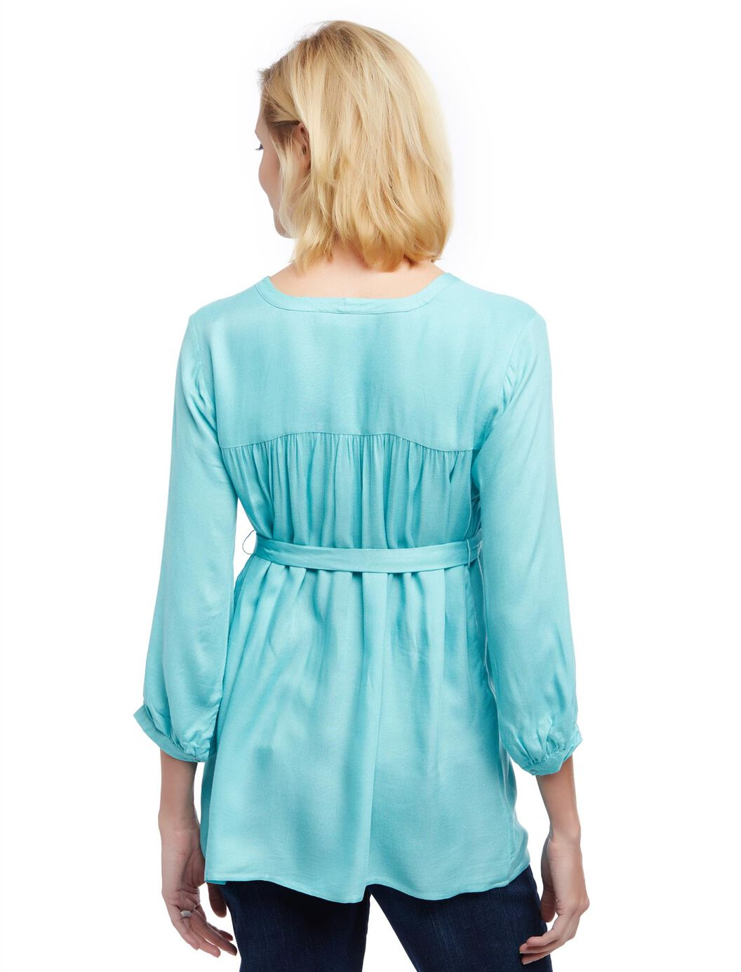 Button detail maternity blouse turquoise motherhood for 99420