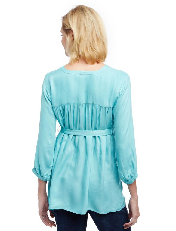 Button Detail Maternity Blouse- Turquoise, Blue Turquoise