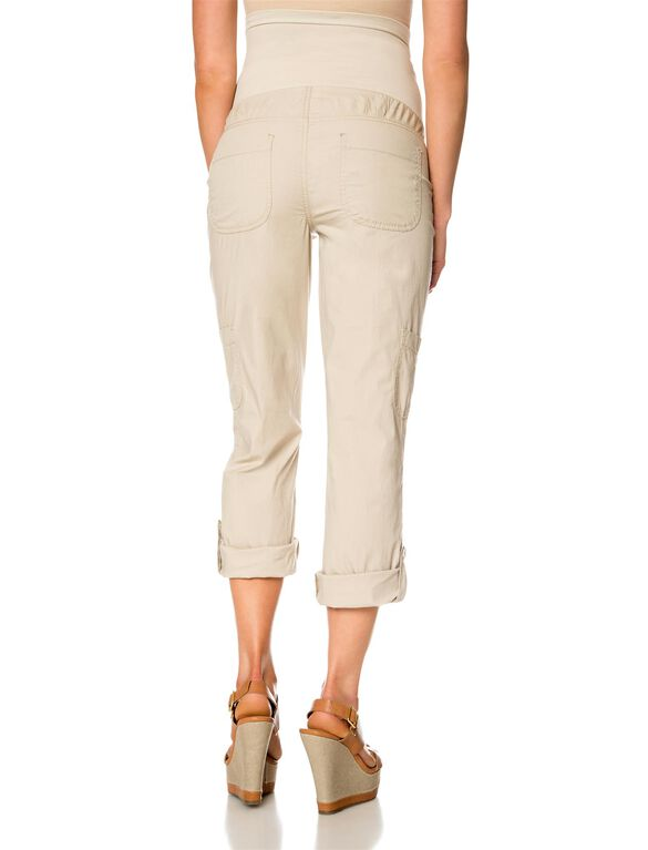 Secret Fit Belly Poplin Cargo Maternity Pants, Almond