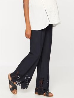 Under Belly Crochet Trim Wide Leg Maternity Pants, Navy