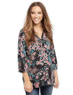 Button Detail Maternity Blouse, Black Ground Floral