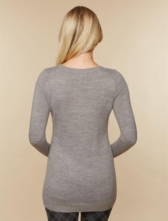 Screen Print Maternity Sweater, Gray