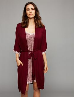 2 Piece Clip Down Nursing Nightgown And Robe, Wine Geo