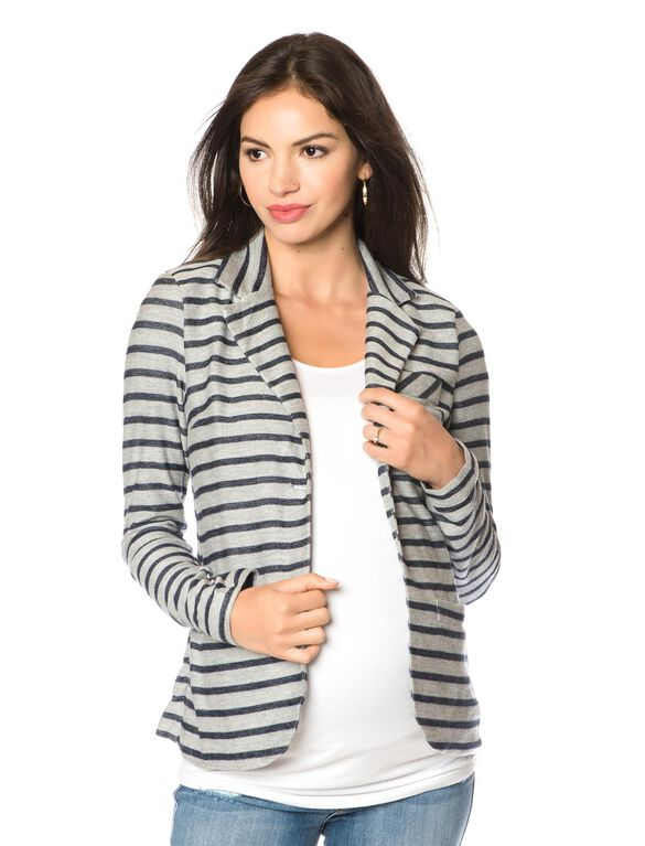 1 Button Closure French Terry Maternity Jacket, Grey/Navy Stripe