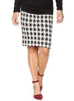 Isabella Oliver Houndstooth Maternity Skirt, Houndstooth Print