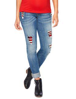Secret Fit Belly Skinny Leg Maternity Pants, Medium Wash W/ Plaid