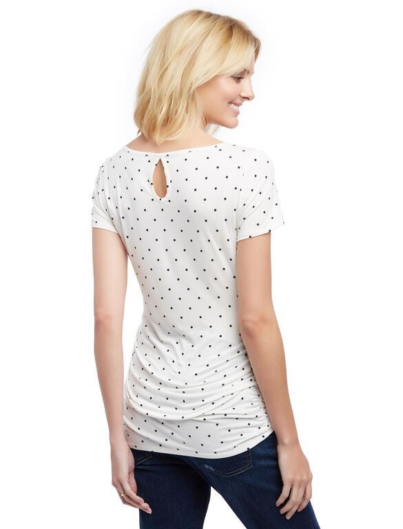 Lace Detail Side Ruched Maternity Tee- Dot Print, White/Black Dot