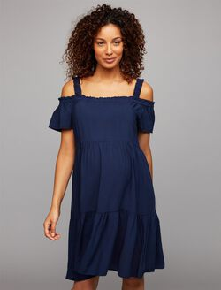 Pietro Brunelli Ruffled Cold Shoulder Maternity Dress, Navy