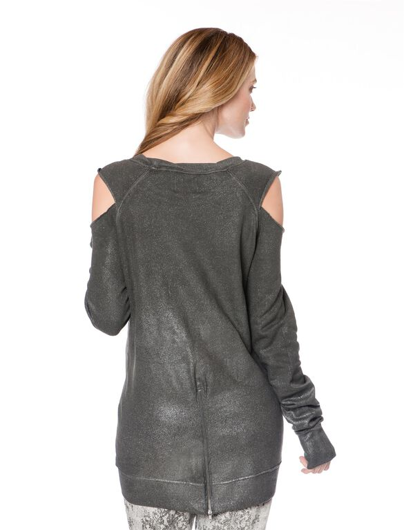 Cold Shoulder Maternity Sweatshirt, Gray