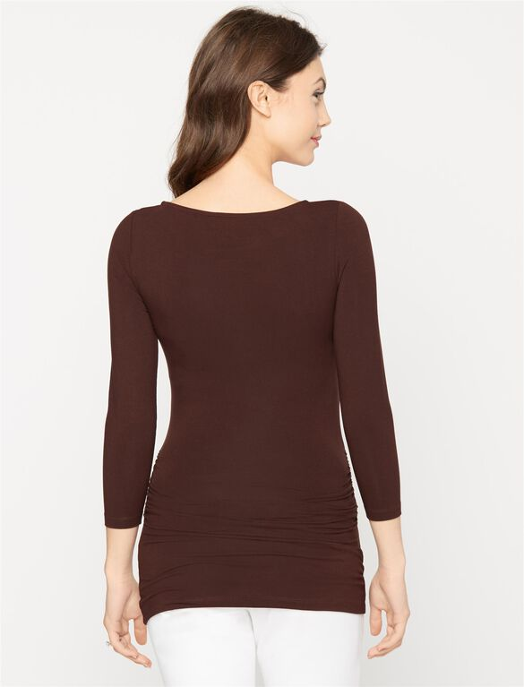 Ruched Maternity Top, Chocolate Brown