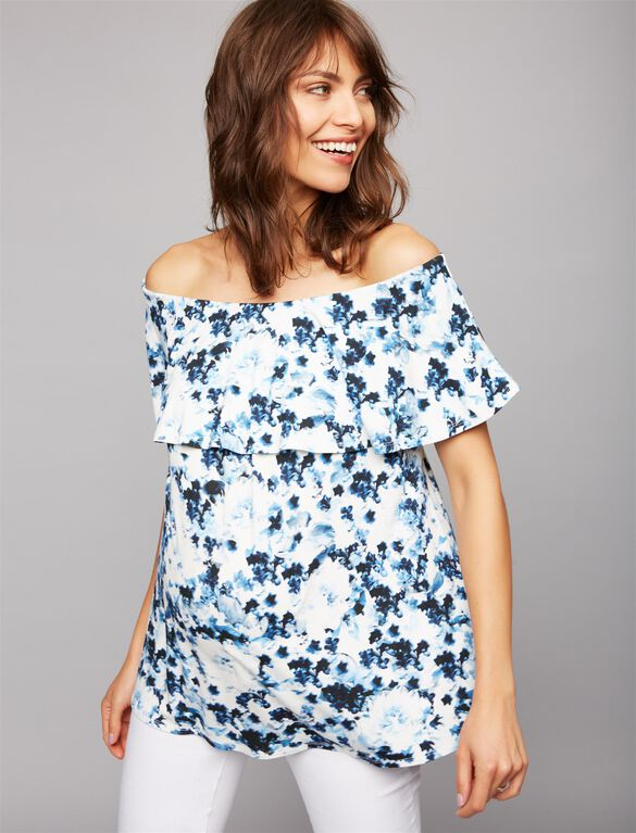 Web Only Isabella Oliver Off The Shoulder Maternity Top, Anaise Blue Print