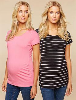 BumpStart Maternity Tee (2 Pack), Stripe/Pink