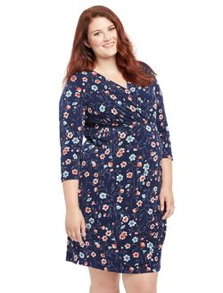 Plus Size Floral Print Faux Wrap Maternity Dress, Navy Floral Print