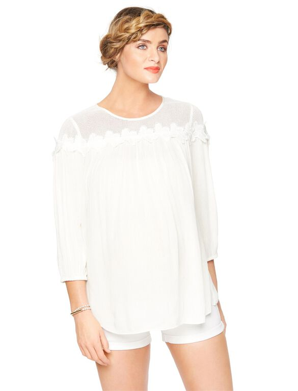 Floral Applique Maternity Blouse, Soft White
