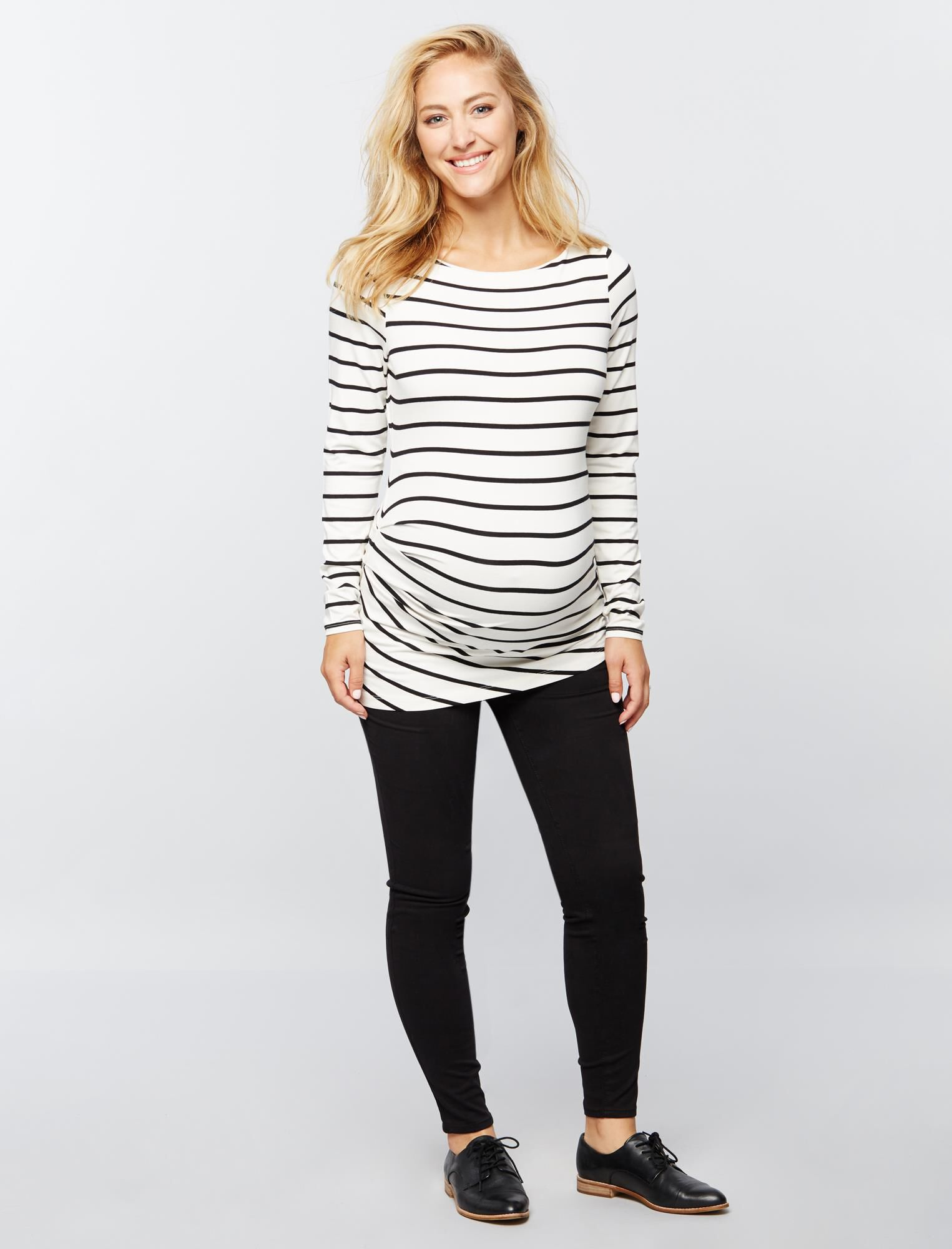 Pleated Maternity Top- Stripe