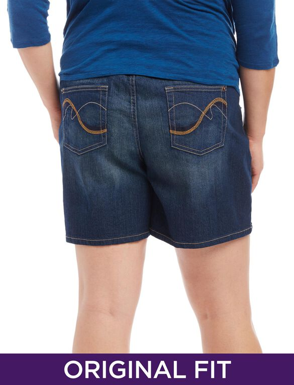 Plus Size Secret Fit Belly Plain Weave Denim Slim Leg Maternity Shorts, Dark Wash