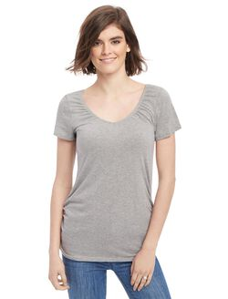 V-neck Pull Down Nursing Tee, Heather Grey
