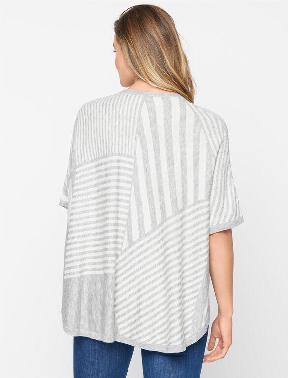 Splendid Maternity Sweater, Heather Grey/White