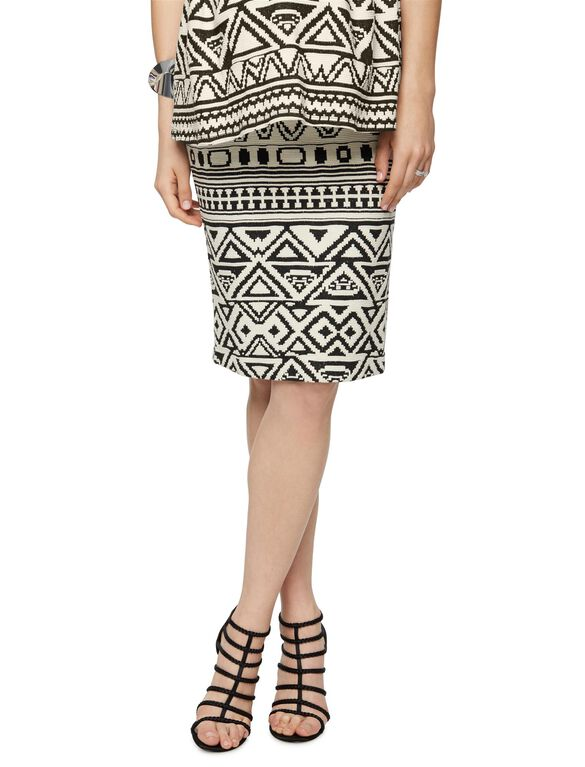 Under Belly Black White Print Pencil Fit Maternity Skirt, Black/White Print