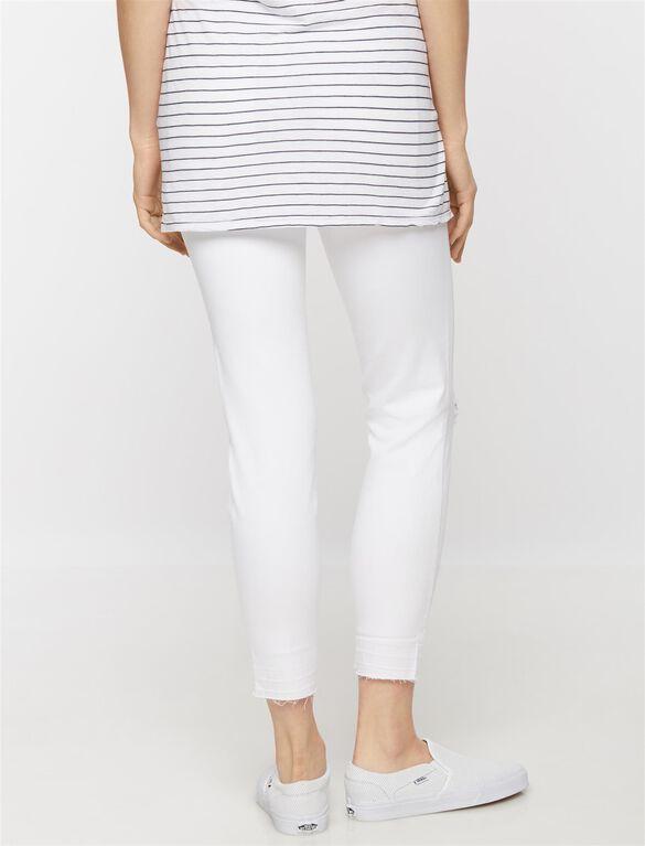 Luxe Essentials Denim Skinny Leg Maternity Jeans-White, White