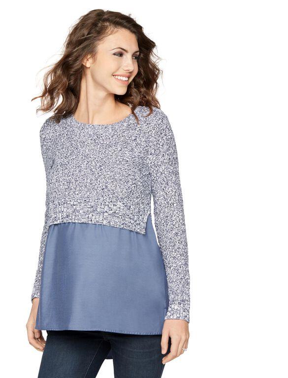 Knit Woven Combo Maternity Sweater, Midnight/White